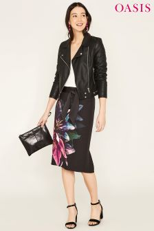 Oasis Black Photographic Lily Pencil Skirt