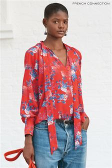 French Connection Red Kioa Crepe Light Tie Neck Top