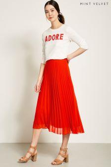 Mint Velvet Chiffon Pleated Skirt