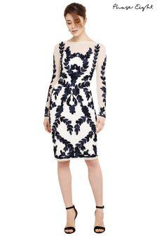 Phase Eight Ivory/Navy Amelie Tapework Dress