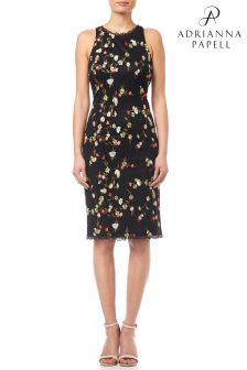 Adrianna Papell Black Floral Embroidery Sheath Dress