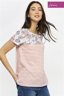 Joules White Floral Suzy Tshirt