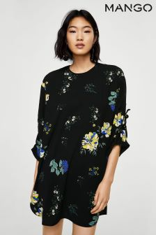 Mango Black Floral Dress