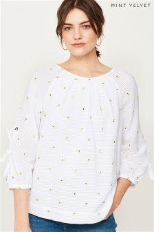Mint Velvet White/Lemon Embroidered Bow Sleeve Blouse