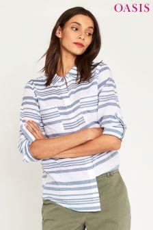 Oasis Blue Varigated Stripe Cotton Shirt