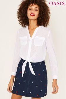 Oasis White Cotton Dobby Tie Front Shirt