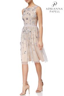 Adrianna Papell Nude Short Beaded Dress