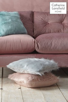 Catherine Lansfield Metallic Faux Fur Cushion