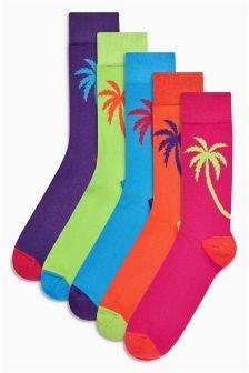 Palm Tree Socks Five Pack