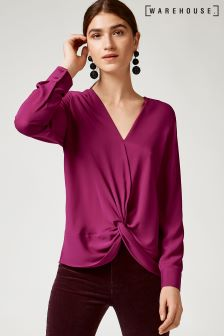 Warehouse Raspberry Knot Front Long Sleeve Top
