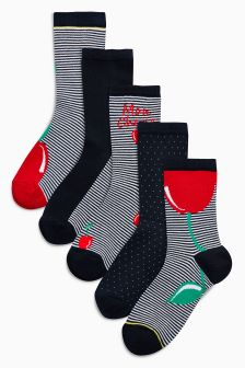 Cherry Ankle Socks Five Pack