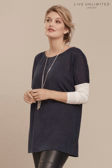 Live Unlimited Blue Contrast Sleeve Fine Knit Jumper