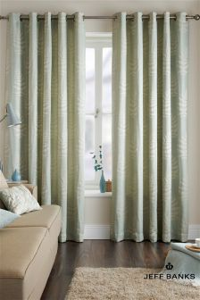 Jeff Banks Fern Eau De Nil Eyelet Curtains