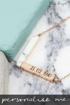 Personalised Rose Gold and White Marble Chevron Necklace By Lisa Angel