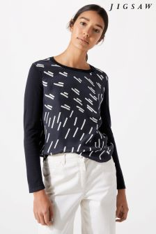Jigsaw Blue Graphic Print Silk Front Jumper