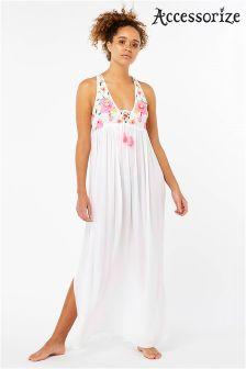 Accessorize White Scarlet Embellished Maxi Dress
