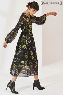 Warehouse Black Dutch Floral Chiffon Midi Dress