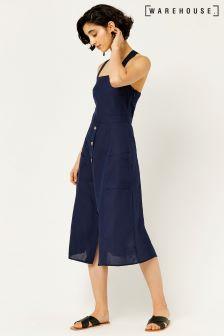 Warehouse Navy Linen Button Through Dress