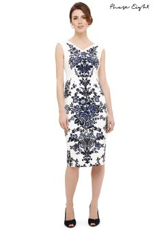 Phase Eight Ivory/Navy Whitney Placement Print Dress