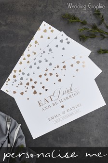 Personalised Confetti Foil Placemat By Wedding Graphics