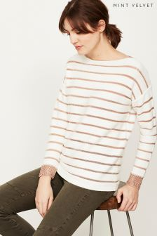 Mint Velvet White Metallic Stripe Insert Knit Jumper