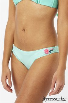 Accessorize Green Embroidered Bikini Brief