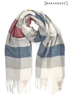 Warehouse Cream/Pink/Navy Large Check Scarf