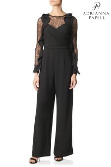 Adrianna Papell Black Crepe And Lace Jumspuit
