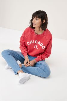 Washed Slogan Sweat