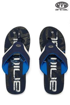Animal Blue Jekyl Logo Snorkel Print Graphic Flip Flops