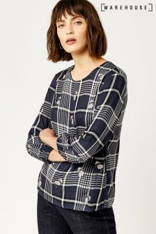 Warehouse Navy Daisy Sprinkle Embroidered Check Top