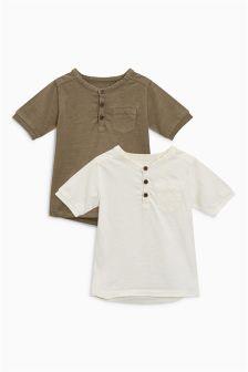 Garment Dyed Short Sleeve Grandad T-Shirts Two Pack (3mths-6yrs)