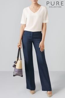 Pure Collection Blue Wide Leg Linen Trouser