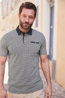 Print Woven Collar Polo