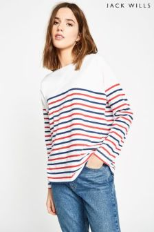 Jack Wills Red Willoughby Classic Breton Top