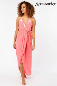 Accessorize Pink Lily Embroidered Wrap Maxi Dress