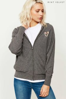 Mint Velvet Grey Granite Heart Print Hoody