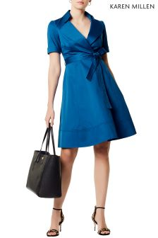 Karen Millen Blue Stitch Hem Dress