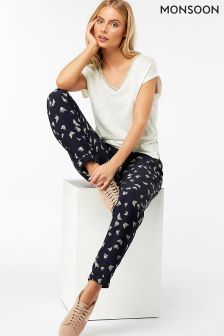 Monsoon Blue Roxi Butterfly Soft Printed Peg Trouser