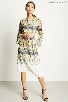 Mint Velvet Yellow Bianca Print Midi Dress