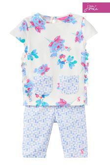 Joules Cream Floral Trouser Set