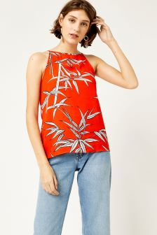Warehouse Red Bamboo High Neck Cami