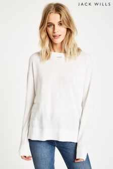 Jack Wills White Sutcliffe Textured Stripe Crew