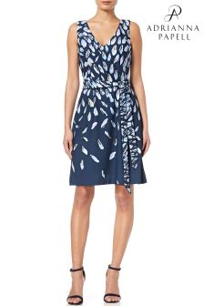 Adrianna Papell Blue Print Knit Fit And Flare