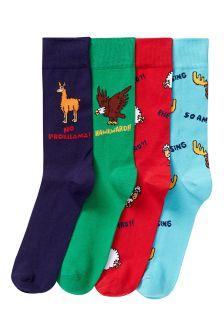 Animal Phrase Socks Four Pack