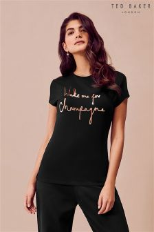 Ted Baker Ted Says Relax Black Wake Me For Champagne Tee