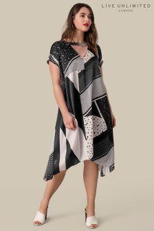 Live Unlimited Black Print Cold Shoulder Swing Dress