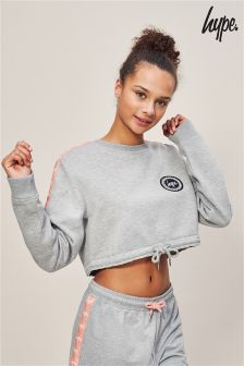 Hype. Grey And Coral Crop Crew