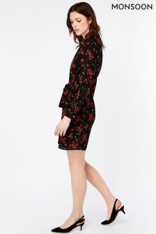 Monsoon Black Tina Ditsy Print Tunic Dress
