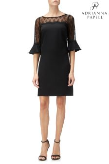 Adrianna Papell Black Stretch Crepe And Lace Shift Dress